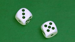 Dice three and five on green Stock Footage
