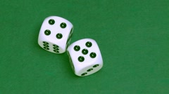 Dice four and five on green - stock footage