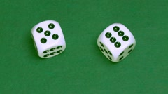 Dice five and six on green - stock footage