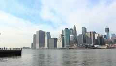 Manhattan From Brooklyn Pier With Freedom Tower In Construction Stock Video Stock Footage