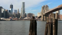 Manhattan With Brooklyn Bridge and Freedom Tower Stock Video Stock Footage
