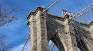 US Flag Atop Brooklyn Bridge New York Stock Video Stock Footage
