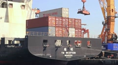 Large container ship in quayside Stock Footage