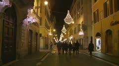 Street Christmas lights Roma - stock footage