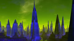 City of aliens. Evening Stock Footage