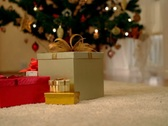 Stock Video Footage of Gifts under christmas tree, dolly shot NTSC