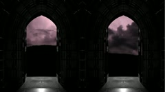 Looking through Church doors at thunderstorm Stock Footage