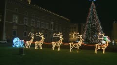 Electric Christmas reindeers in Rome Stock Footage