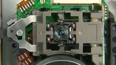 Dvd player laser unit focusing Stock Footage