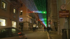 Busy street in Rome at Christmas Stock Footage