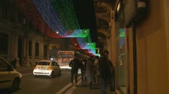 High street in Rome at christmas Stock Footage