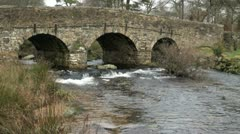 Arched Bridge, Postbridge, Dartmoor Stock Footage