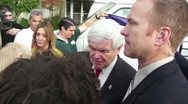 New Gingrich Greets New Media And Comments About Nuclear Proliferation Stock Footage