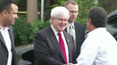 Newt Gingrich Arrives At Campaign Stop Stock Footage