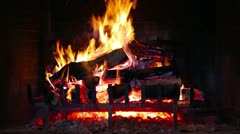 Stock Video Footage of Fireplace Red Fire Coals Warm Hearth Ambiance Non Looping Place