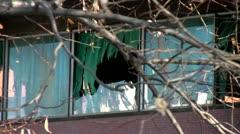 Broken Window Branches Stock Footage