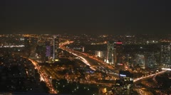 Tel Aviv night view pan 3 Stock Footage