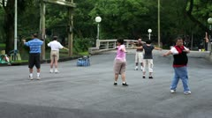 people streching in park - stock footage