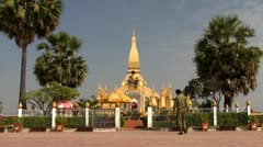 Pha That Luang temple in Vientiane Stock Footage