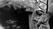 Graveyard statue set against timelapse bare tree Stock Footage