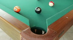 8 Ball in the Corner Pocket Slow Motion Stock Footage