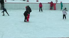 On holidays many people go for a drive in the winter on an ice skating rink Stock Footage