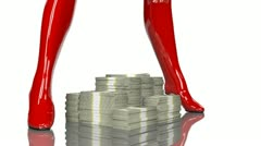 Rotating pile of one million dollars between sexy red latex high heel boots - stock footage