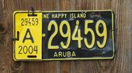 Aruba plate Stock Footage