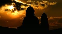 Moldova Capriana monastery sunset Stock Footage
