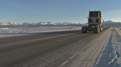 Semi Truck Tractor Heads Down Homer Spit Road Stock Footage