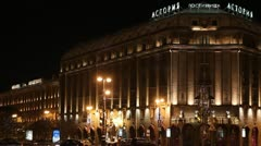 The Astoria Hotel at night, St. Petersburg, Russia Stock Footage