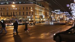 Traffic on Nevsky street at night, St. Petersburg, Russia Stock Footage