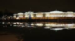 The Building of Senate and Synod at night, St. Petersburg, Russia Stock Footage