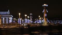 Rostral Columns at night, St. Petersburg, Russia - stock footage