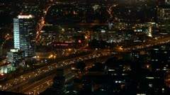 Tel Aviv night view traffic 4 Stock Footage
