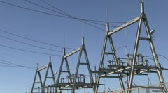City power source with birds wide angle Stock Footage