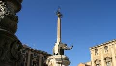 Obelisk on elephant in Catania, Italy Stock Footage