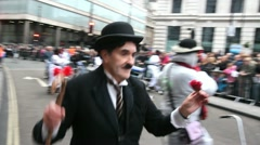 Charlie Chaplin in London Parade Stock Footage