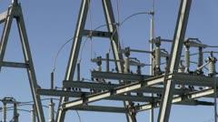 Birds on city power generator close up Stock Footage