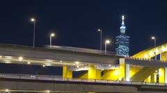 taipei city night traffic timelapse - stock footage