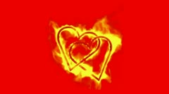 Two burning hearts,valentine's day energy heart. Stock Footage