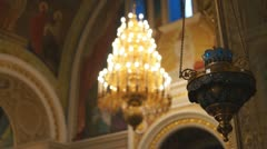 Russian Orthodox Church. The interior, icons, life. Lamp Stock Footage