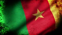 Cameroon Flag Waving, grunge look Stock Footage