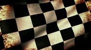 Checkered Flag Waving, grunge look Stock Footage