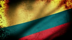 Colombia Flag Waving, grunge look Stock Footage