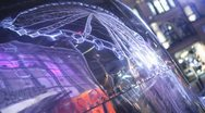 Stock Video Footage of Reflection of Big Wheel in Metallic Object at Night Manchester HD File