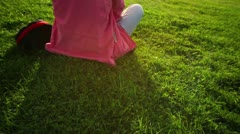 Young woman enjoy good weather Stock Footage