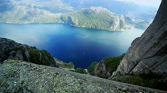 Norway fjord panorama - stock footage