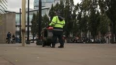 Street Cleaner Walking HD File Stock Footage
