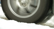 Tire slipping on snow Stock Footage